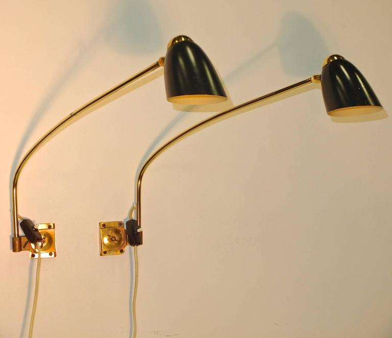 1950s, Austrian Swing Arm Articulating Wall Lamps For Sale at 1stdibs