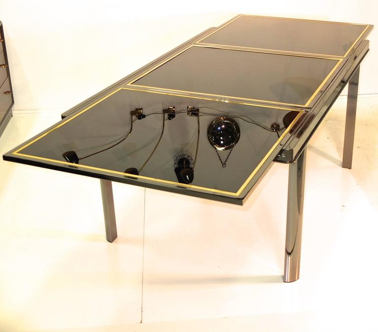 Extending Dining Table Smoked Chrome Black Glass Brass Trim