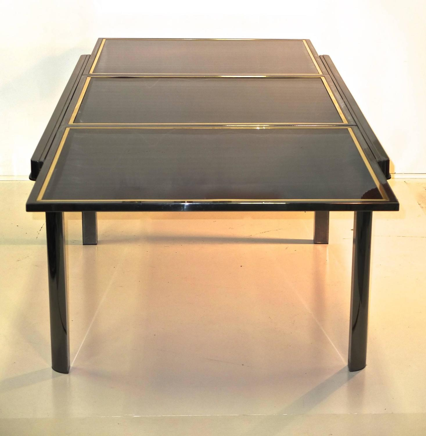 Extending Dining Table Smoked Chrome Black Glass Brass
