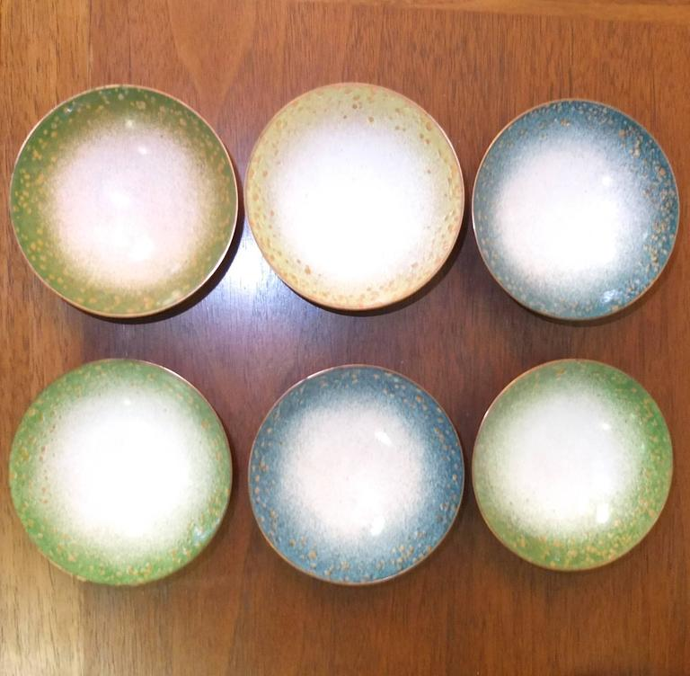 Set of Six Italian Enameled Copper Pin Dishes For Sale 3