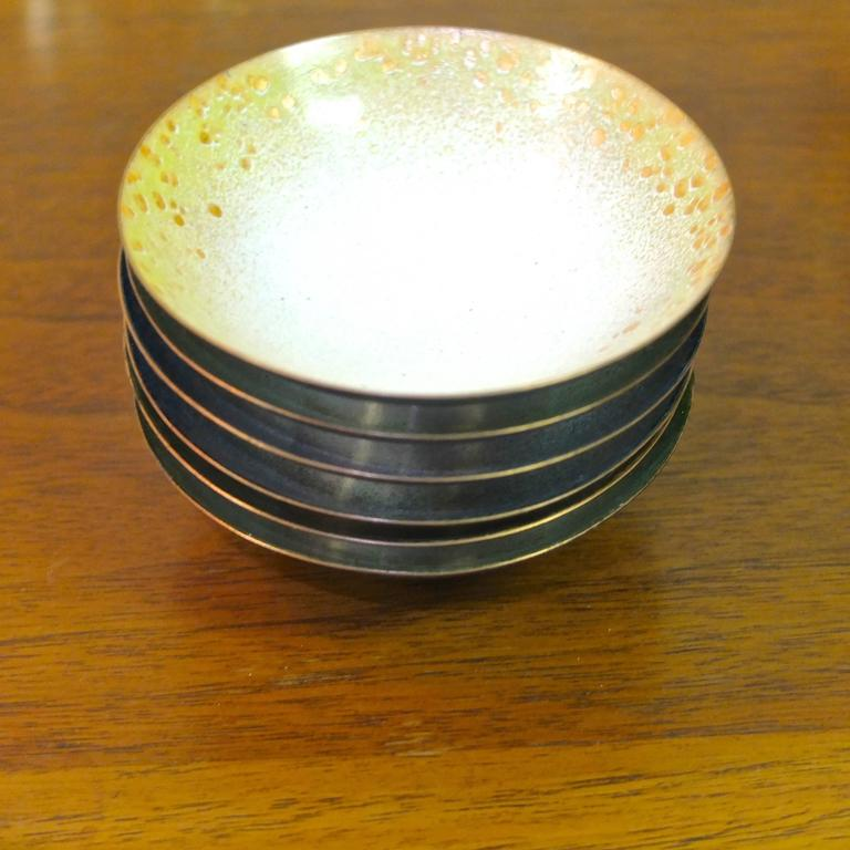 Set of Six Italian Enameled Copper Pin Dishes For Sale 4