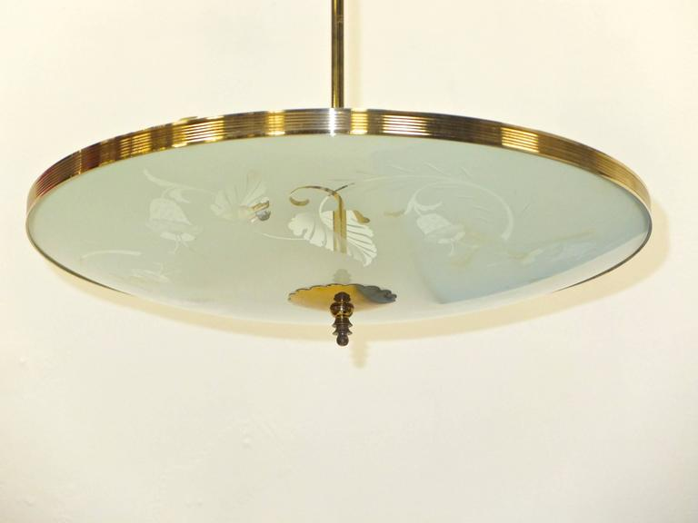 Mid-Century Modern Italian Etched Glass UFO Pendant in the Style of Pietro Chiesa For Sale