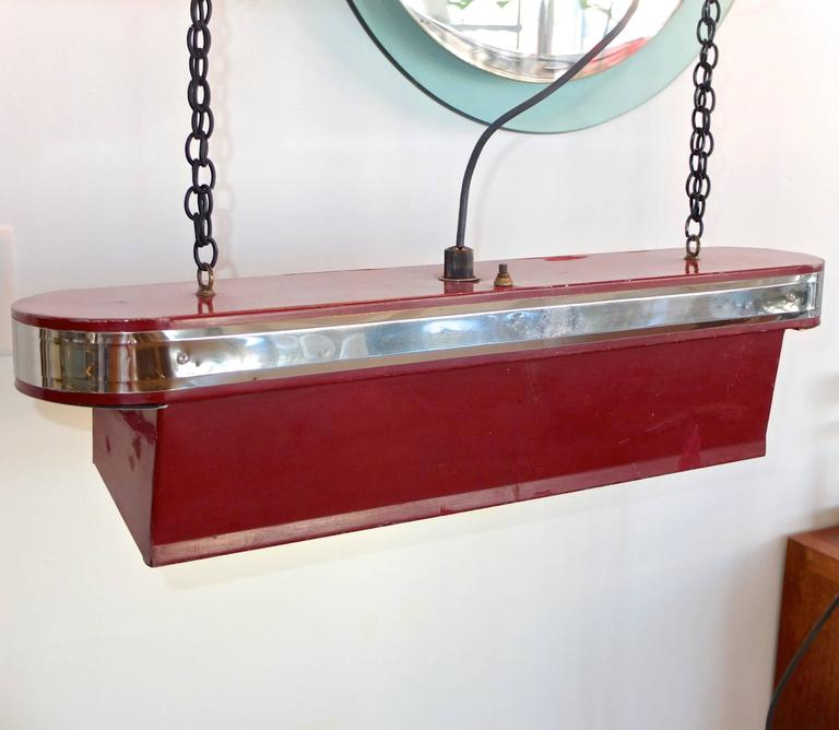 American Streamline Art Deco Horizontal Hanging Light For Sale