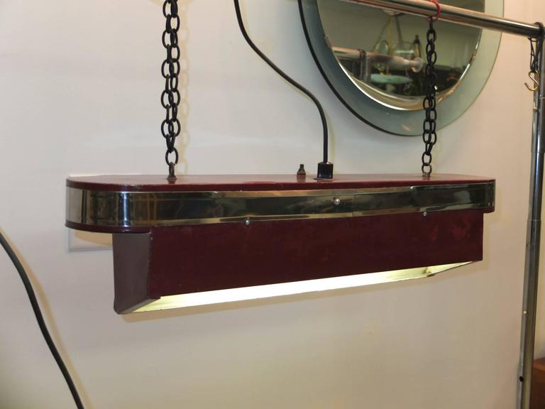 Streamline Art Deco Horizontal Hanging Light In Good Condition For Sale In Hingham, MA