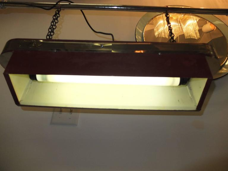Steel Streamline Art Deco Horizontal Hanging Light For Sale