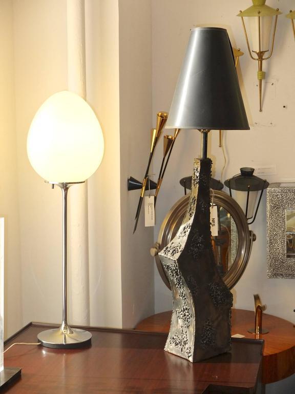 Italian Marcello Fantoni Sculptural Metal Lamp For Sale