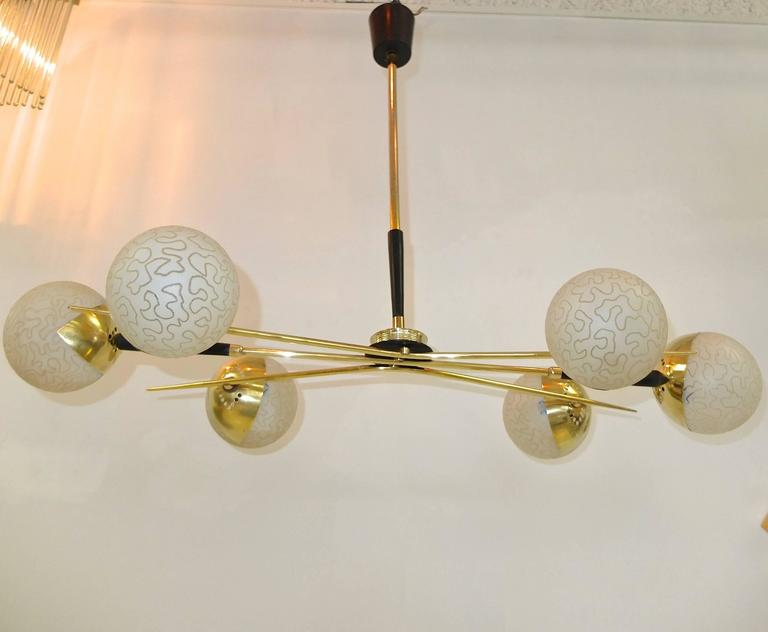 1950s Fan Sputnik Chandelier by Lunel with Textured Globes 2
