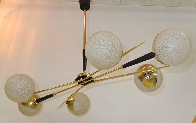 1950s Fan Sputnik Chandelier by Lunel with Textured Globes 3