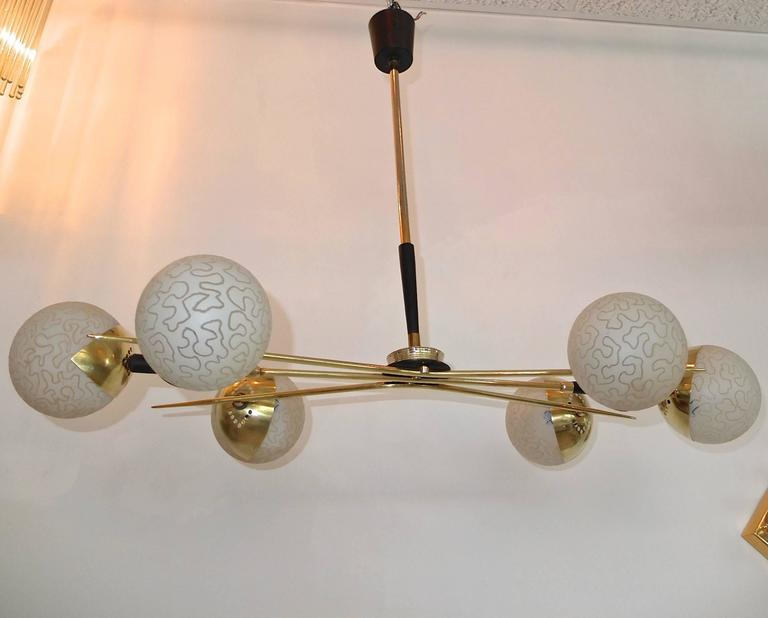 1950s Fan Sputnik Chandelier by Lunel with Textured Globes 4