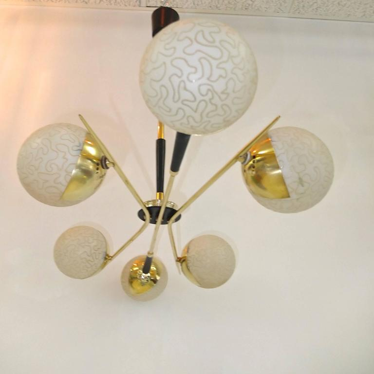 1950s Fan Sputnik Chandelier by Lunel with Textured Globes 6