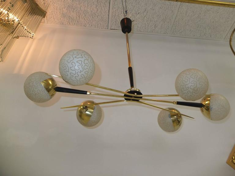 1950s Fan Sputnik Chandelier by Lunel with Textured Globes 8