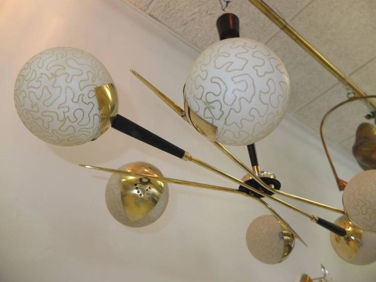 1950s Fan Sputnik Chandelier by Lunel with Textured Globes 9