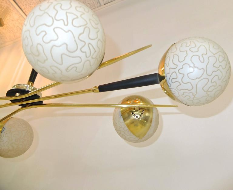 1950s Fan Sputnik Chandelier by Lunel with Textured Globes 10