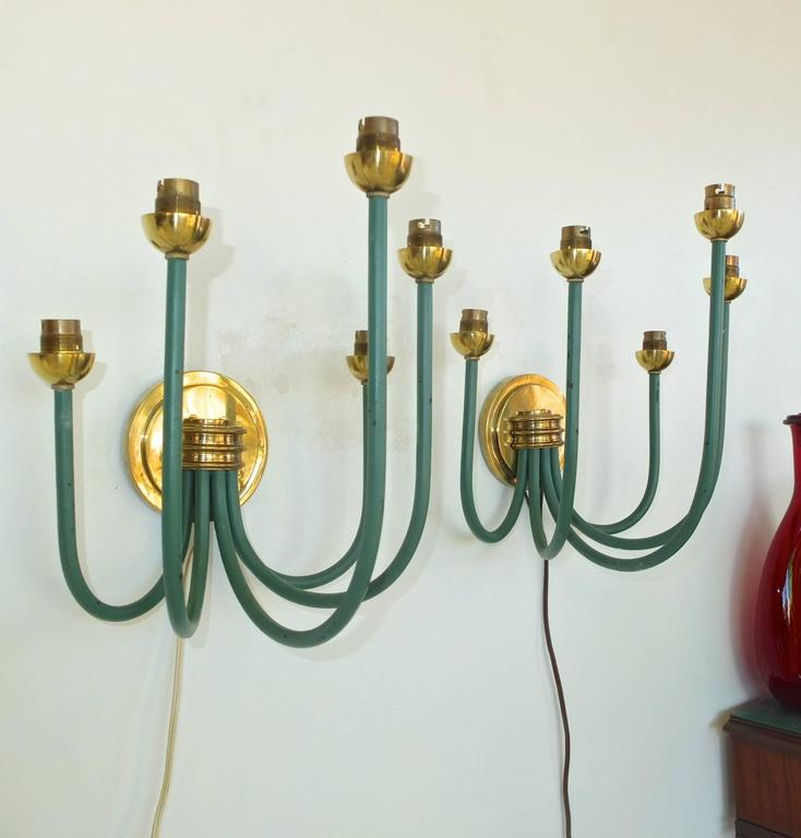Enameled French Large-Scale Five Branch Wall Sconces in Brass and Green Painted Iron For Sale