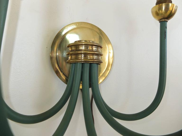French Large-Scale Five Branch Wall Sconces in Brass and Green Painted Iron For Sale 2