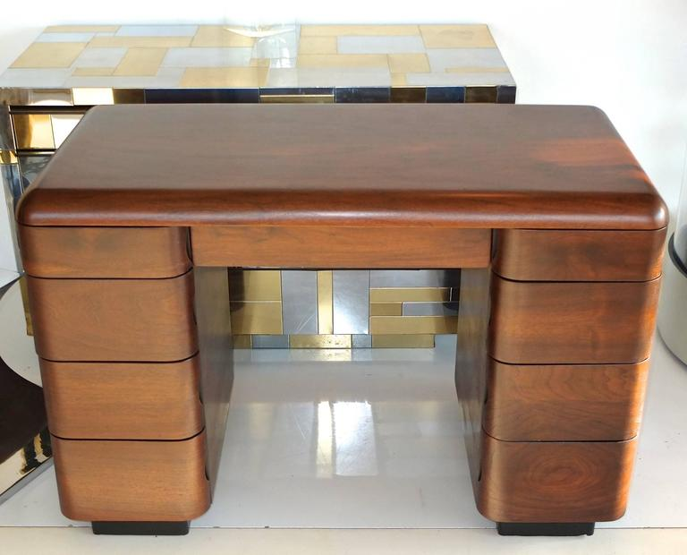 1940 S Paul Goldman Bent Plywood Desk For Plymold Corp For