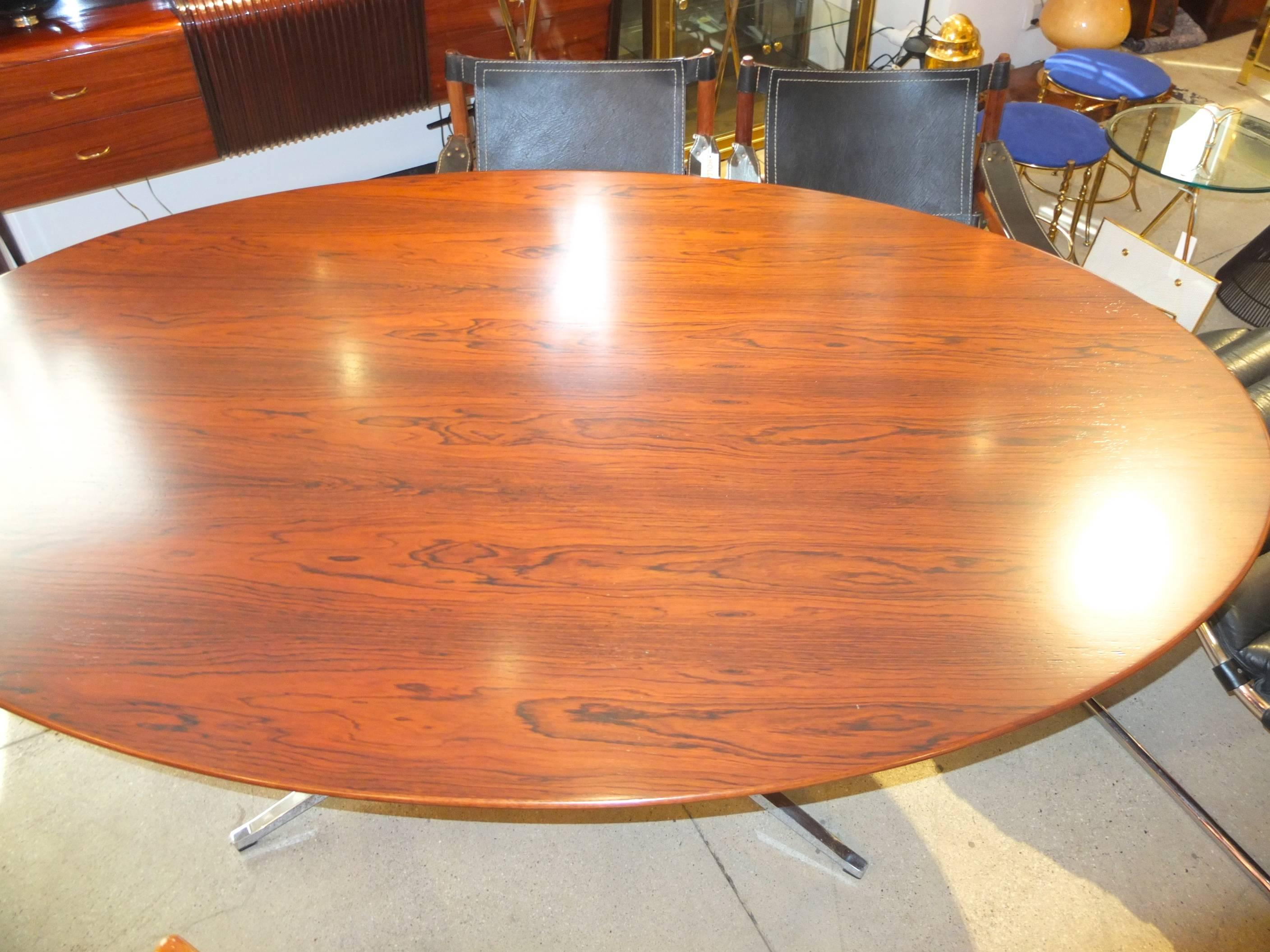 Mid Century Modern Brazilian Rosewood Elliptical Oval Executive Table Desk  By Florence Knoll For Sale