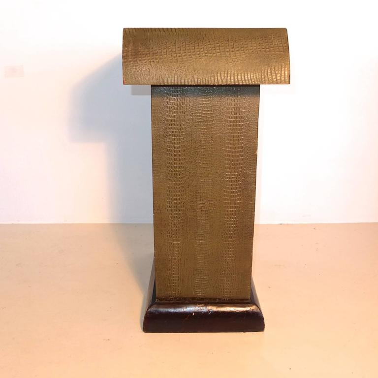 Art Deco Crocodile And Palm Tree Embossed Console Cabinet