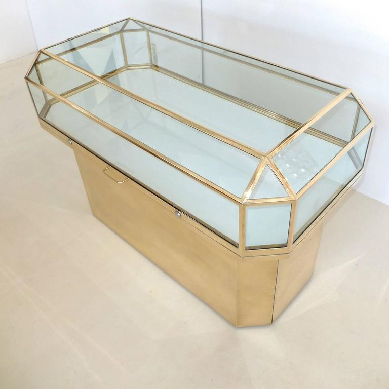 Modern Pair of Solid Brass and Glass Geometric Display Cases For Sale