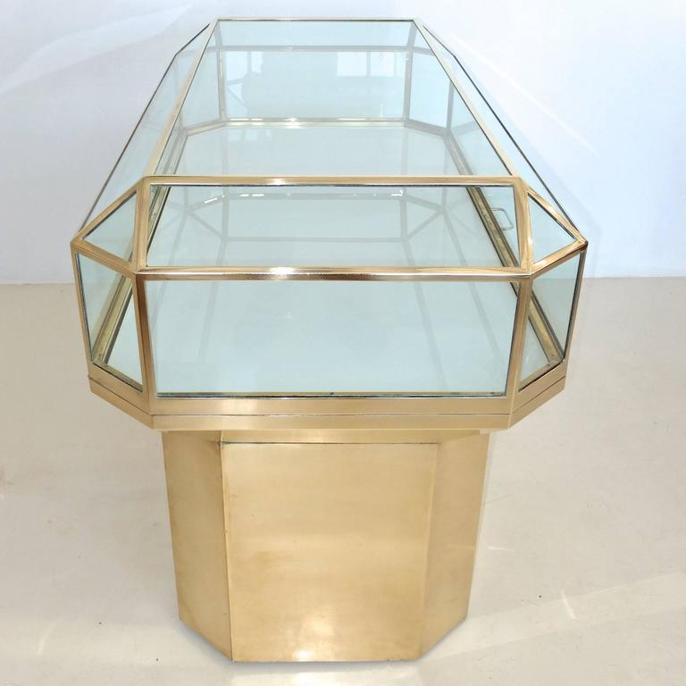 American Pair of Solid Brass and Glass Geometric Display Cases For Sale