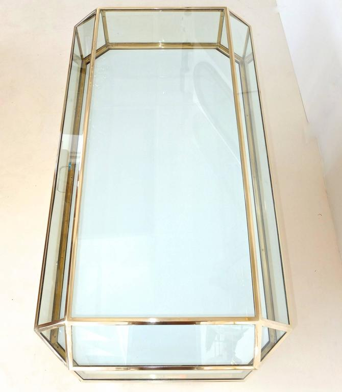 Pair of Solid Brass and Glass Geometric Display Cases In Excellent Condition For Sale In Hingham, MA