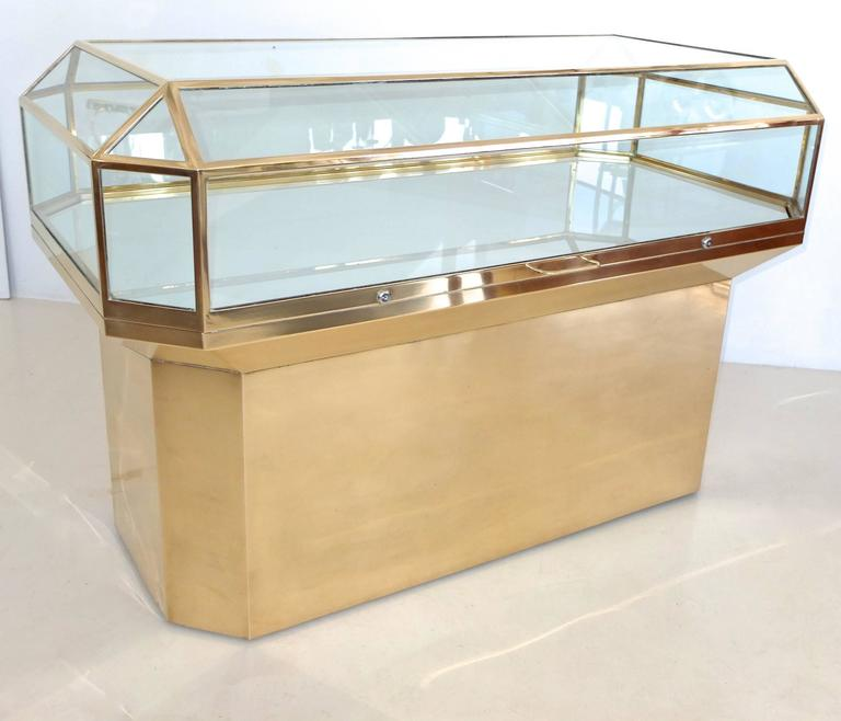 Pair of Solid Brass and Glass Geometric Display Cases For Sale 2
