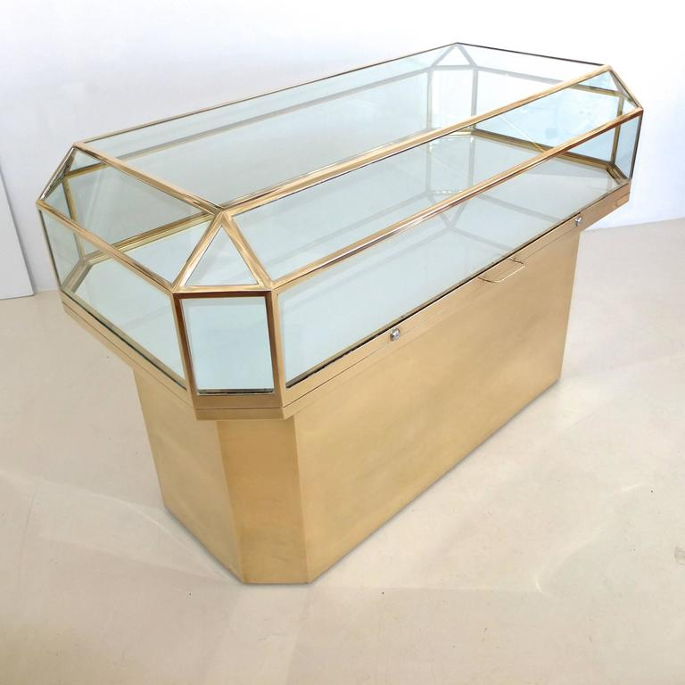 Pair of Solid Brass and Glass Geometric Display Cases For Sale 3