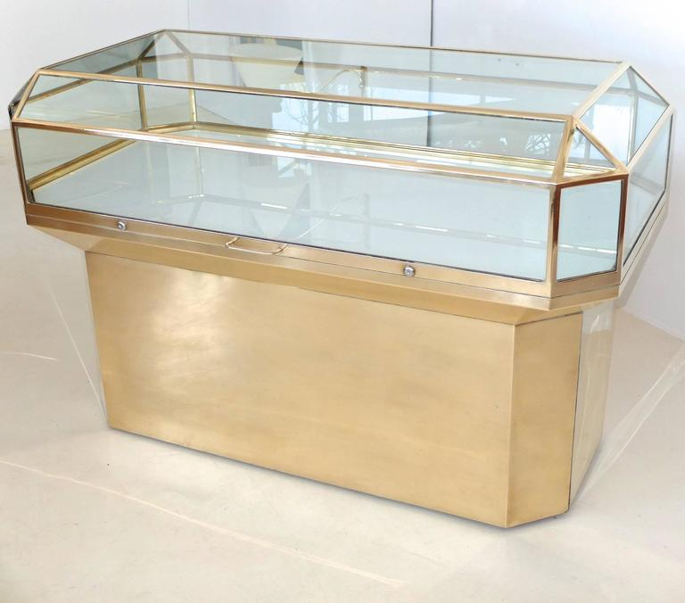 Pair of Solid Brass and Glass Geometric Display Cases For Sale 4