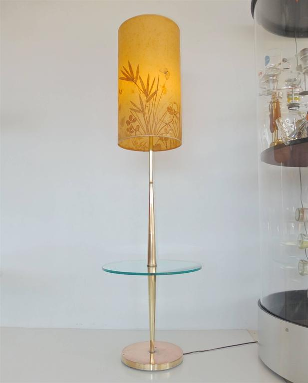 Vintage Tapered Brass Floor Lamp with Integrated Glass Table 2