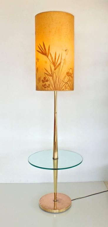 Vintage Tapered Brass Floor Lamp with Integrated Glass Table 3