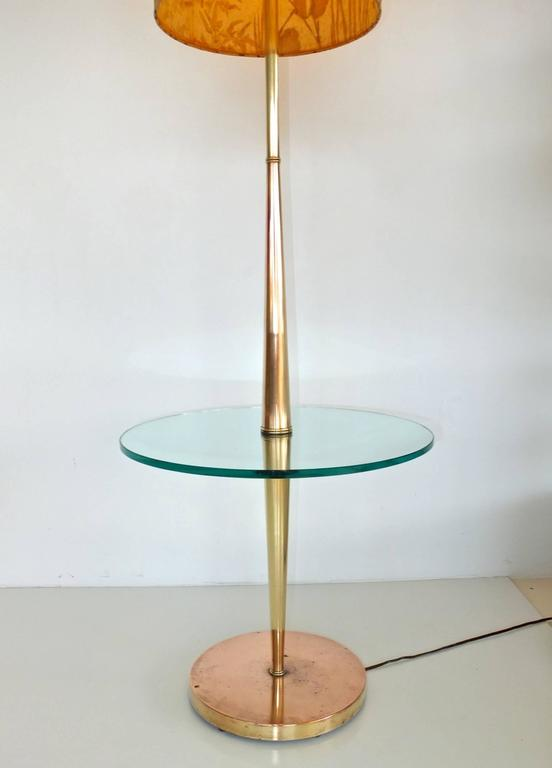 Vintage Tapered Brass Floor Lamp with Integrated Glass Table 4