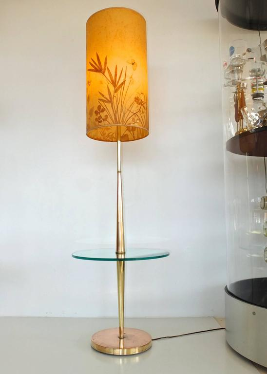 Vintage Tapered Brass Floor Lamp with Integrated Glass Table 5