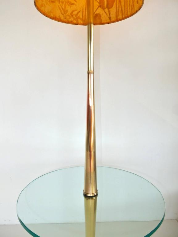 Vintage Tapered Brass Floor Lamp with Integrated Glass Table 8