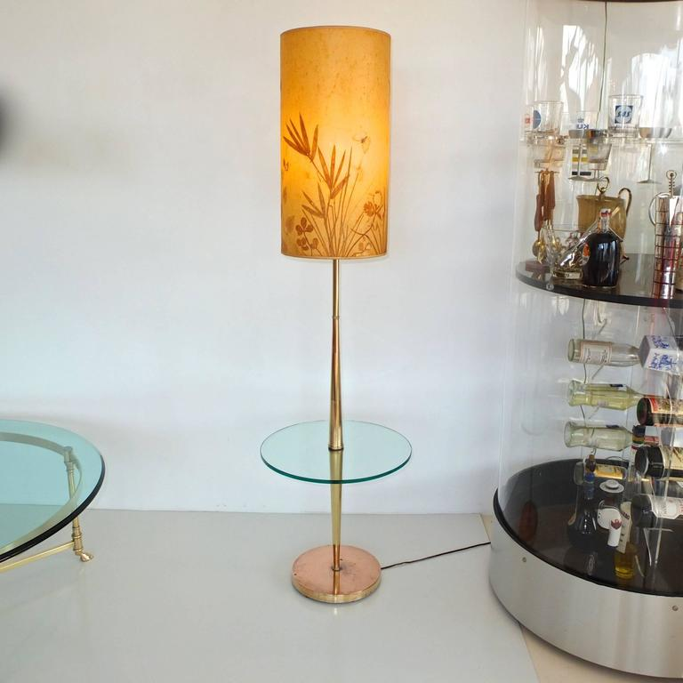 Vintage Tapered Brass Floor Lamp with Integrated Glass Table 7
