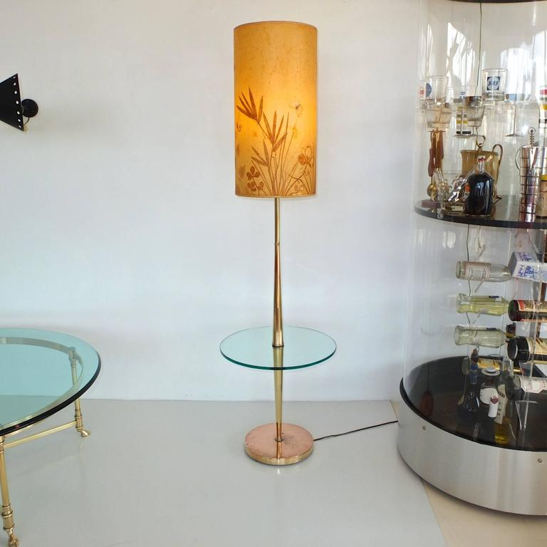 Vintage Tapered Brass Floor Lamp with Integrated Glass Table 9