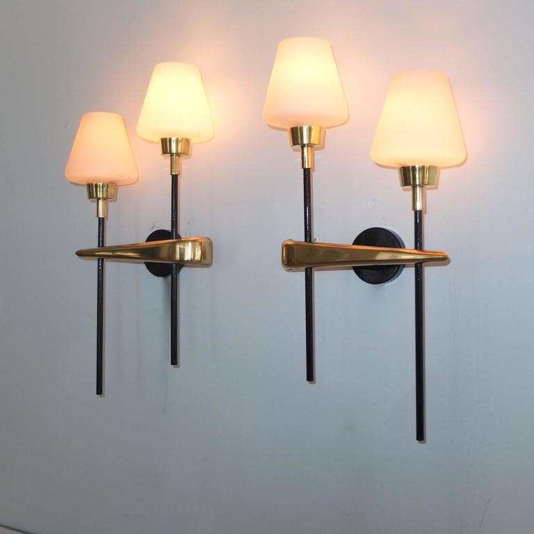 Pair of Brass and Iron Two-Light Sconces by Arlus 6