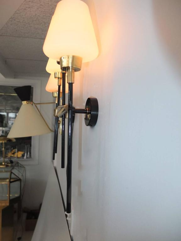 Pair of Brass and Iron Two-Light Sconces by Arlus 7