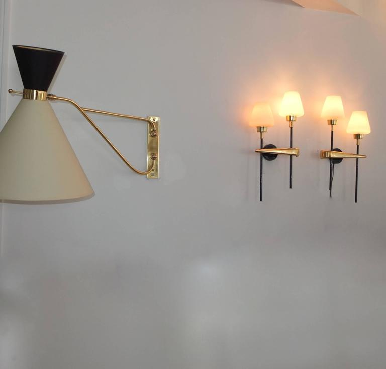 Pair of Brass and Iron Two-Light Sconces by Arlus 8