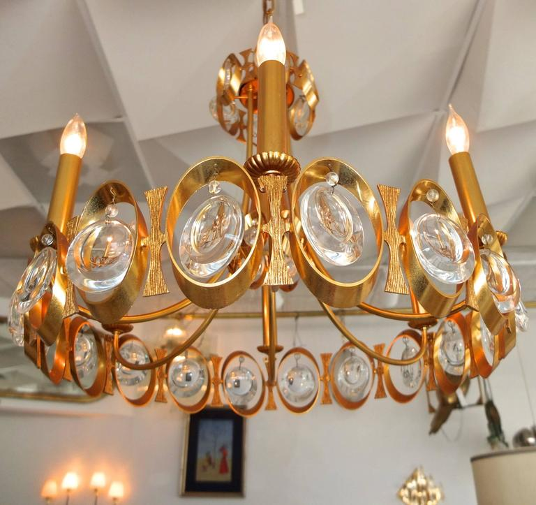 Palwa Gilt Brass and Optic Lens Crystal Chandelier 4