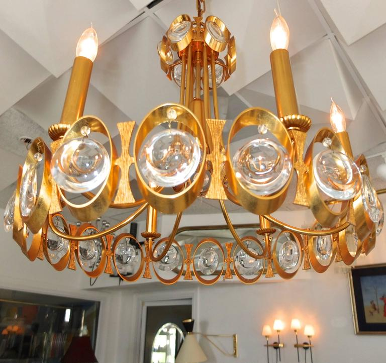 Palwa Gilt Brass and Optic Lens Crystal Chandelier 5