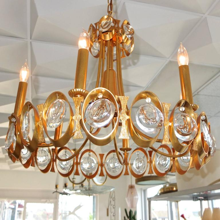 Palwa Gilt Brass and Optic Lens Crystal Chandelier 8