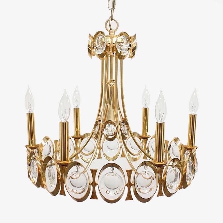 Palwa Gilt Brass and Optic Lens Crystal Chandelier 2