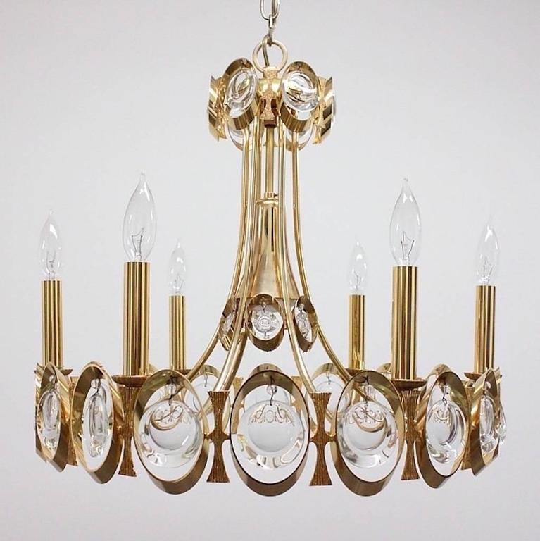 Palwa Gilt Brass and Optic Lens Crystal Chandelier 3