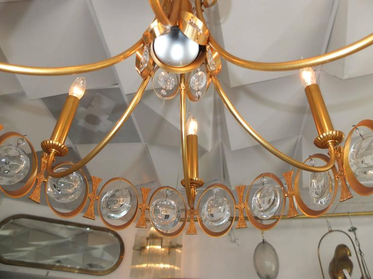 Palwa Gilt Brass and Optic Lens Crystal Chandelier 9