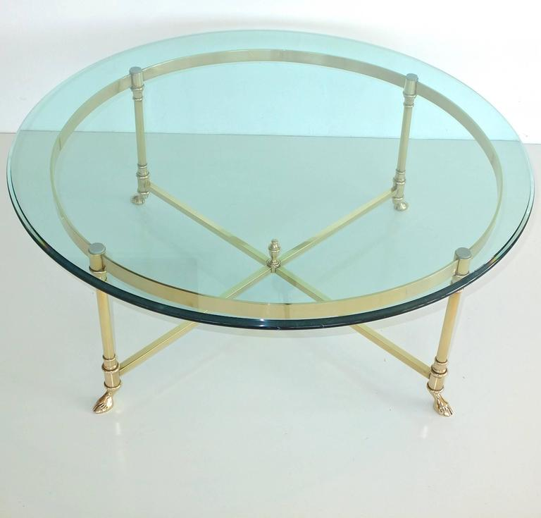 American Round Brass and Glass Neoclassical Cocktail Table after Maison Jansen For Sale