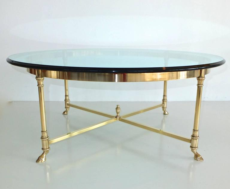 Late 20th Century Round Brass and Glass Neoclassical Cocktail Table after Maison Jansen For Sale