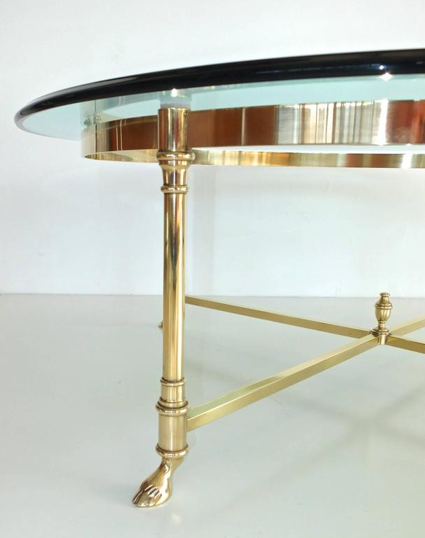 Round Brass and Glass Neoclassical Cocktail Table after Maison Jansen For Sale 1