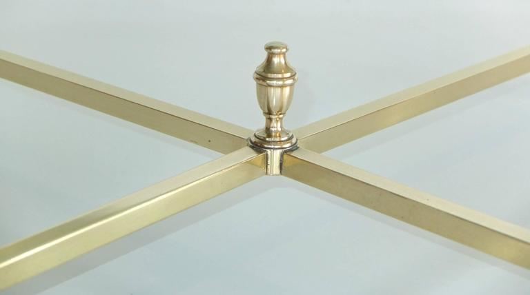 Round Brass and Glass Neoclassical Cocktail Table after Maison Jansen For Sale 2