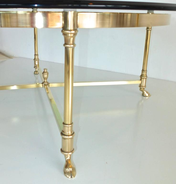 Round Brass and Glass Neoclassical Cocktail Table after Maison Jansen For Sale 3