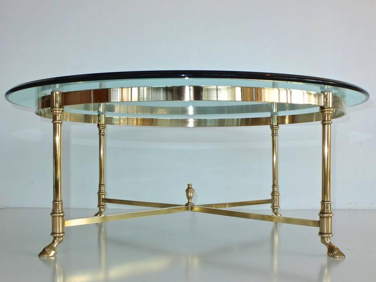 Round Brass and Glass Neoclassical Cocktail Table after Maison Jansen For Sale 4